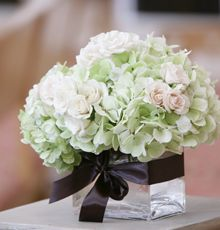 Hydrangea and Roses Centerpiece
