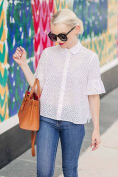 White Eyelet Bell Sleeve Shirt For Summer - Poor Little It Girl Source by poorlilitgirl outfit Casual Outfits, Cute Outfits, Fashion Outfits, Stitching Dresses, Bell Sleeve Shirt, Couture Tops, Fashion Moda, Lace Tops, Blouse Designs