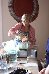 Charlotte the chef demonstrating how to make ancien moutarde