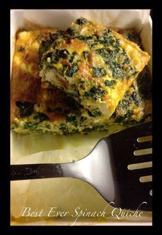 A spinach quiche that is low carb, high fat and packed with flavour and goodness.