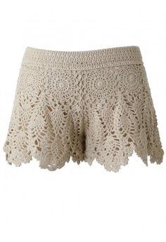 Handknit Crochet Skirt Shorts - Retro, Indie and Unique Fashion