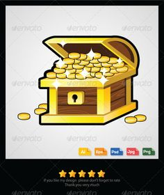 Treasure Chest  #GraphicRiver         Treasure chest vector Features:    High-Quality Colorful Vector Images.   Color mode: CMYK.   Adobe Illustrator CS 4 and above.   Clean & Modern Style.   Multiple Use for Any Digital Design Projects.   100% Editable and Resizable.   FREE future updates.   Available in PNG,JPG, PSD, AI & EPS.   If you need any help please to let me know, I will help you as best as I can. Please don't forget to rate, Thank you. 	 keywords: treasure chest, golden chest…