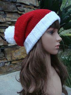 94605c01fa3 DIY- Knitting PATTERN  48  Santa fold up brim Knit Hat with Pom-Pom