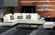 Beige Leather 3 Pcs Sectional Sofa and Ottoman Set