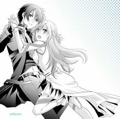 Sword Art Online - Asuna x Kirito Kirito Kirigaya, Kirito Asuna, Gun Gale Online, Sao Fanart, Sword Art Online Kirito, Monochrom, Online Images, Cute Love, Anime Love