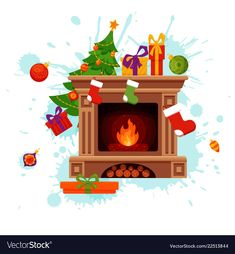 Christmas fireplace room interior in colorful vector image on VectorStock Christmas Fireplace, Xmas, Christmas Tree, Flat Style, Room Interior, Adobe Illustrator, Art For Kids, Light Bulb, Cartoon