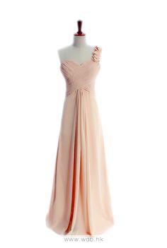 One shoulder A-line with ruffle embellishment chiffon bridesmaid dress $134.8
