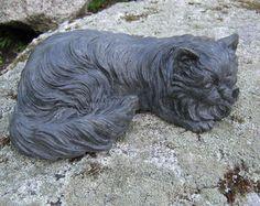 Cat Statue, Long Haired Cat Figure, Concrete Statuette.