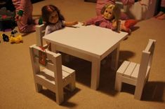 """Table and $4 stackable chairs for American Girl or 18"""" dolls"""