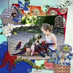 Kits by: BLT DezignZ Made by me, Mary Anne. This is so cute. sweet child & the birds with the cat. My Scrapbook, Mary, Birds, Children, Sweet, Cute, Nature, Animals, Young Children