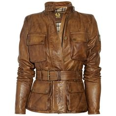 Belstaff Triumph jacket: tobacco leather, buckle-fastening stand collar, lightly padded shoulders, long sleeves, zip-fastening cuffs, designer plaque at one ar…