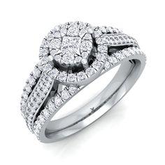 1.33 Ct Certified Princess Cut Diamond Designer Engagement Ring In14k White Gold #Cocktail #Engagement