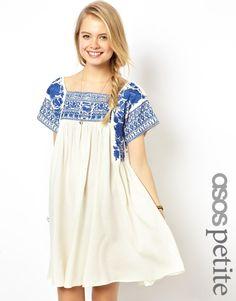 ASOS PETITE Premium Embroidered Swing Dress