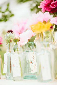 ESCORT CARDS // ANTIQUE GLASS JARS CREAM TAGS