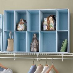 The cubbies are fantastic too ~ and a fun punch of color on a boring closet wall… Top 5 Favorite Handbag Storage Ideas