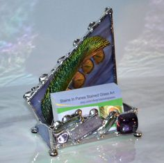 Items Similar To Desk Business Card Holder Co Worker Gift Feminine Design Organizer Display Boss S Jewel Tone On Etsy