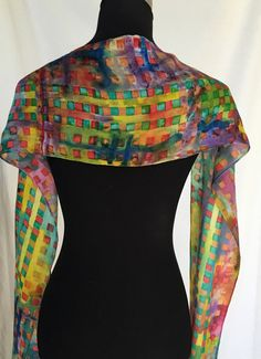 Silk scarf original painting of abstract by SylviaGrayDesigns