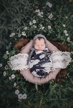Newborn baby girl in a garden of pretty white flowers in a bowl of brown textures wearing a grey and white floral wrap and a grey bonnet in this portrait by Nature's Reward Photography Outdoor Newborn Photography, Children Photography, Outdoor Newborn Photos, Cute Baby Pictures, Newborn Pictures, Beautiful Pictures, Expecting Baby, How To Pose, Newborn Session