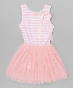Look at this Pink Stripe Bow Tutu Dress - Toddler & Girls on #zulily today!