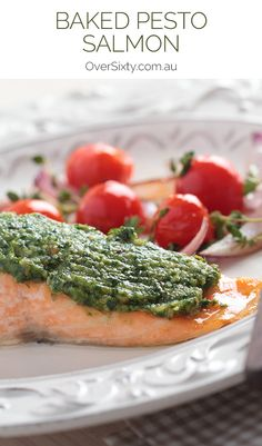 Baked Pesto Salmon - This healthy salmon dish is so easy to make yet still looks impressive enough to serve for dinner on special occasions.