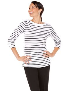 Enjoy relaxed nautical style in this boatneck tee with contrast trims and lace up detail | Long Beach Tee