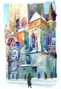by Eduard Tomek astrological clock Watercolor City, Watercolor Sketch, Watercolor Artists, Watercolor Landscape, Watercolor Paintings, Watercolors, Watercolor Architecture, Art And Architecture, Illustrations