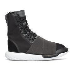 """Delivery by August 31Qasa boot sneakers from the F/W2016-17 Y-3 by Yohji Yamamoto collection in blackLaunched in 2002, Y-3 is Yohji Yamamoto's clothing line made in collaboration with Adidas: the """"Y"""" represents the Japanese designer while is for the three unmistakable stripe logo of the sports brand. Yamamoto's visions and innovations join Adidas' technologies, for a cherished cutting edge final product.These Qasa Boot sneakers are from Y-3 new collection, Yohji Yamamoto's clothing brand…"""