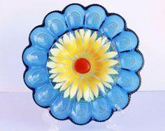 """Glass Plate Flower Cobalt Blue Yellow """"Midnight Sun""""/ Recycled Glass Garden Art Sculpture Yard Stake Suncatcher/ Indoor Outdoor Garden Decor"""