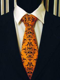 Skull Necktie, Skull Tie, Goth, Gothic, Mens Necktie, Mens Tie, Orange Necktie, Orange Tie, Black Tie, Cotton Necktie, Cotton Tie, Father by EdsNeckties on Etsy