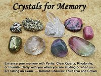 Crystals for Memory — Enhance your memory with Pyrite, Clear Quartz, Rhodonite, or Fluorite. Carry with you when you are studying or when you are taking an exam. — Related Chakras: Third Eye and Crown Crystal Magic, Crystal Healing Stones, Stones And Crystals, Gem Stones, Story Stones, Buy Crystals, Minerals And Gemstones, Rocks And Minerals, Gemstones Meanings