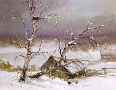 paintings country scenes | Painting - Country Snow - art gallery, buy paintings, sell paintings ...