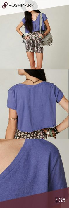 Free People V-neck Crop Top Super cute soft (100% cotton) Free People crop top. Its a beautiful purple/blue color. Looks great with shorts, high waisted skirts, or over a bodycon dress! Free People Tops Crop Tops