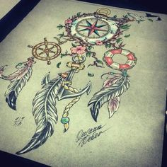 dream catcher compass tattoo - love the feathers and the anchor but not the compass Girly Tattoos, Pretty Tattoos, Beautiful Tattoos, Body Art Tattoos, Cool Tattoos, Tatoos, Nautical Tattoos, Ship Tattoos, Arrow Tattoos