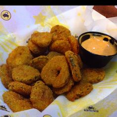 Deep fried pickles from buffalo wild wing....my mouth waters just thinking about them.