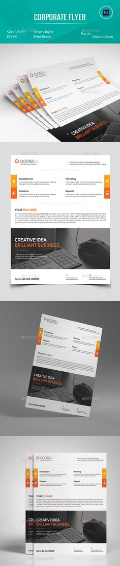 Corporate Flyer Template PSD #design Download: http://graphicriver.net/item/corporate-flyer/13345657?ref=ksioks