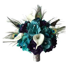 "10"" Bouquet:Eggplant Jade Silk roses with Real Touch calla lily peacock feather"
