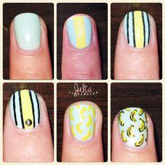 Nails Art Plátanos /mes de la fruta