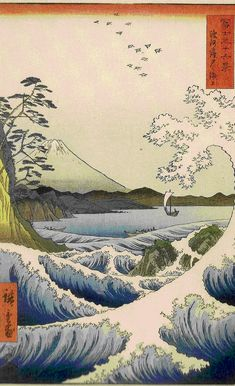 Mt Fuji and waves - tranquility