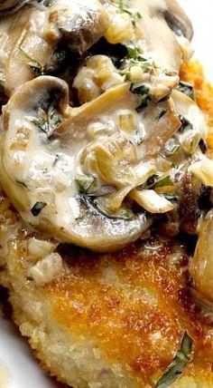 Pork Chops with Mushroom Bourbon Sauce #porkchoprecipes