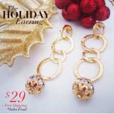 Holiday earring, $29 + Free Shipping