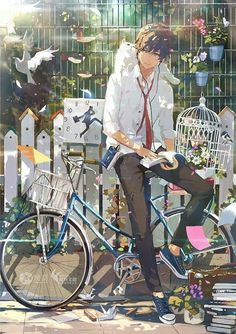 ♡~*ANiME ART*~♡ bishounen - beautiful anime boy - school uniform - tie - sneakers - earbuds - listening to music - reading - bicycle - animals- bird - cat - flowers - garden - sunlight - sparkling - cute - kawaii Hot Anime Guys, Cute Anime Boy, Anime Love, Art Manga, Manga Anime, Anime Eyes, Anime Cosplay, Anime Style, Katsura Kotonoha