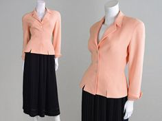 Vintage 80s 90s THIERRY MUGLER Fitted Jacket Peach by ZeusVintage
