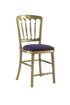 Gold Gilt Chair with Purple Seat Pad offers Traditional design stackable eco-friendly resin chair, shown here with a Purple seat pad but is also available in various coloured seat pads. http://www.eventhireonline.co.uk/chairs/gilt