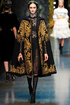 Dolce & Gabbana Fall 2012 RTW - Runway Photos - Fashion Week - Runway, Fashion Shows and Collections - Vogue - Vogue Runway Fashion, Fashion Show, Fashion Outfits, Womens Fashion, Fashion Design, Fashion Cape, High Fashion Dresses, Dress Fashion, Style Fashion
