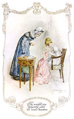 """She worked very diligently under her aunt's directions."" Mansfield Park, Jane Austen"