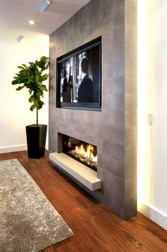 44 Trendy Living Room TV Wall Modern Fireplace, You are in the right place for home decor items When it comes to d Fireplace Tv Wall, Basement Fireplace, Fireplace Design, Cute Living Room, Living Room With Fireplace, New Living Room, Tv On Wall Ideas Living Room, Tv Wand Modern, Modern Electric Fireplace