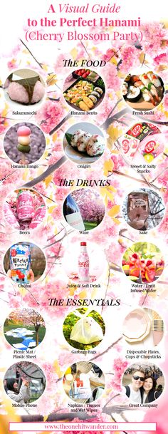 Hanami - A Visual Guide to the Perfect Cherry Blossom Party! - The One Hit Wander Cherry Blossom Party, Cherry Blossom Japan, Cherry Blossoms, Japanese Party, Fresh Sushi, Japan Holidays, Sushi Party, Picnic Date, Salty Snacks