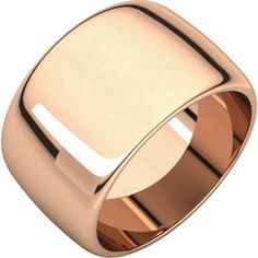 14k Rose Gold 12mm High Polished Traditional Domed Wedding Band - Sarraf.com
