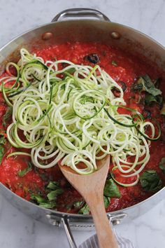 Zucchini Noodles with Puttanesca Sauce .. you won't even miss the pasta!! So delicious and packed with flavor!