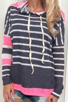 Casual Style Hooded Long Sleeve Black and White Stripe Women's Colorful Hoodie $20